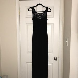 Floor length black dress with lace